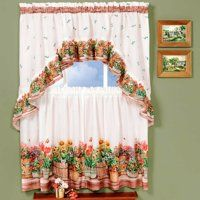 Kitchen Curtain And Swag Set Country Garden Country Curtains Curtains Sweet Home Collection
