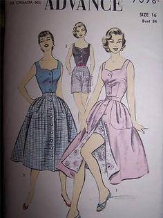 1950s Advance 7098 Vintage  Sewing Pattern Sun Top, Skirt & Shorts Sun Dress