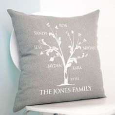Personalised Family Tree Cushion - 80th birthday gifts