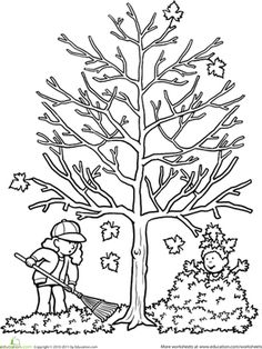 Fall First Grade Nature Worksheets: Autumn Tree Coloring Page