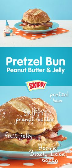Makes 1 serving  1 pretzel bun, split and toasted  2 tablespoons SKIPPY® peanut butter  2 tablespoons fruit jelly  2 slices HORMEL® BLACK LABEL® bacon, cooked  Spread bottom of pretzel bun with peanut butter and jelly. Top with bacon and bun top.