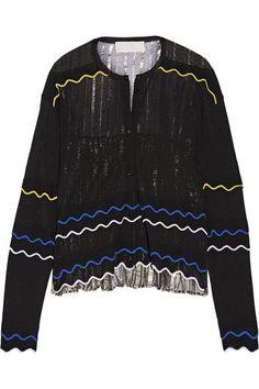 Peter Pilotto - Paneled Stretch-knit And Pleated Silk-blend Lamé Cardigan - Black - medium