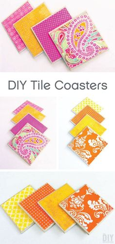 All you need is tiles, scrapbook paper, Mod Podge, and scissors to make these unique and colorful DIY tile coasters. Customize these fun crafts to match the current color scheme in Diy Projects To Make And Sell, Money Making Crafts, Diy Crafts To Sell, Fun Crafts, Arts And Crafts, Sell Diy, Decor Crafts, Crafts To Make And Sell Unique, Upcycled Crafts
