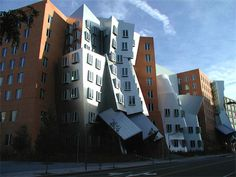 Postmodern buildings on the MIT campus, designed by Frank Gehry, but now unpopular due to impractically sized rooms and defects due to uneven weight bearing walls.
