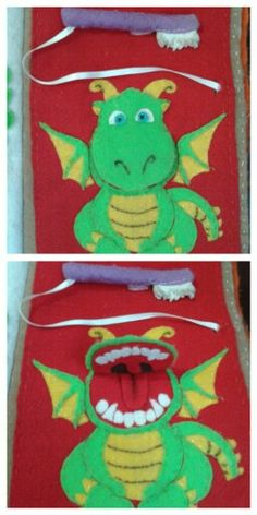 Quiet book Teeth brush Cepillo de dientes Dragon Drake