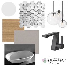 • Bathroom goals • Here is some inspo for your next bathroom Reno featuring marble mosaics, pendant bulb lighting, black matt tapeware, raw concrete bench top, timber cabinetry & minimalist basin. Check out more at www.onthedecorativefringe.com