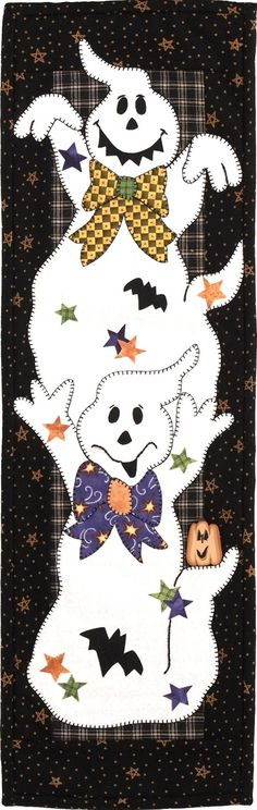 Patchabilities.com awesome patterns for applique.  Cute ghosts for Halloween quilt wall hanging or table runner.