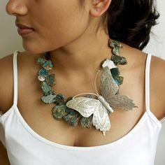 Large Silver Butterfly, Snail,  Imperial Jasper Necklace:  Haiku inspired. $332.00, via Etsy.