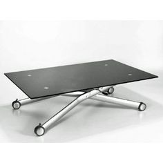 NERO HEIGHT ADJUSTABLE GLASS COFFEE/DINING TABLE: Amazon.co.uk: Kitchen & Home