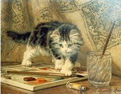 Художница Генриетта Роннер-Книпп (1821-1909). Маленький художник. В ожидании творческого вдохновения
