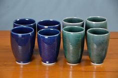 Green Blue Ceramic Cup, Hand Thrown Porcelain Pottery, Handleless, Tumbler, Mugs, Tea, Wine Glass, Unique Gift, Mom | Caldwell Pottery