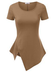 Doublju Asymmetrical Hem Short Sleeve T-Shirt - Mocha #doublju