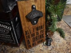 """Wood Burned """"Drink In My Hand"""" Bottle Opener. Custom wood burning and more on Etsy --> Eric Church, All I Want to Do is Put a Drink in My Hand, Chief, Wood Burning, Bottle Opener, Beer Opener, Kitchen Decor, Country, Rustic, Dark Wood Stain"""