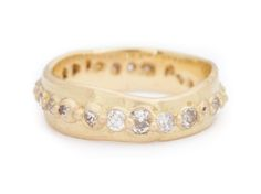 Polly Wales Wide Pinched Eternity Ring with Large Miners cut Diamonds 18k gold. Via pollywales.com