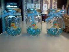 Simple Mason Jar Baby Shower Centerpiece Baby shower centerpieces