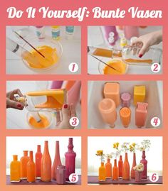 la reine's blog: Aus Glasflasche bunte Vasen basteln