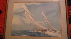 "Hans Skalagard "" Columbia "" , Sailboat Print , Matted , Framed , Oak Frame , 30 - Prints"