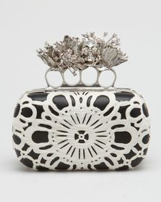 Laser-Cut Calf Hair Knuckle-Duster Box Clutch Bag by Alexander McQueen at Bergdorf Goodman.