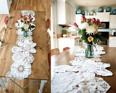 diy doily table runner out your largest doilies first in with smaller doilies the edges of the big and small doilies the doilies together using