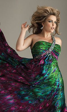 PLUS SIZE NIGHT MOVES PEACOCK PROM DRESS size 20