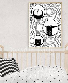 Woodland Animals, Baby Decor Nursery Art, Black and White Nursery Decor, Black Stripes Print, Animal Illustration, Digital Print