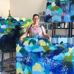 """Meet #bluethumbartist Clair Bremner (@clairbremner): """"My goal is to create artworks that are visually beautiful calming and organic. My paintings are highly decorative however I feel they also serve as a reflection of the beauty and complexity that nature provides. I like to create art for real people to go into real homes that are a visual feast for the eyes and will be enjoyed for generations to come. Link in bio  #artuncovered #art #contemporaryart #Australia http://ift.tt/1TN6MFr"""