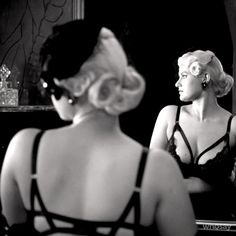 Behind the scenes photo of model Gia Genevieve in my Madame X bra