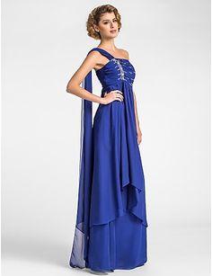A-line Plus Sizes Mother of the Bride Dress - Royal Blue Floor-length/Watteau Train Sleeveless Chiffon – GBP £ 65.69