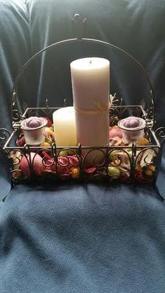 Black Iron Centerpiece with Candles & Potpourri #Unbranded