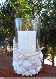 Beachcomber Seashell Candleholder, DIY and Crafts, DIY Ideas With Sea Shells - Beachcomber Seashell Candleholder - Best Cute Sea Shell Crafts for Adults and Kids - Easy Beach House Decor Ideas With San. Seashell Art, Seashell Crafts, Beach Crafts, Diy Crafts, Crafts With Seashells, Starfish, Seashell Decorations, Decorating With Seashells, Mason Jars