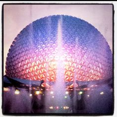 Epcot at sunset.