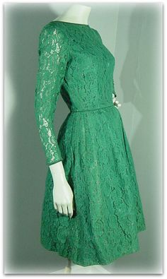 Green lace dress - if I could fit in this dress I would LOVE to try and pull it off. Maybe someday. Green Dress Outfit, Green Lace Dresses, Lace Party Dresses, Pretty Outfits, Pretty Dresses, Beautiful Outfits, Blouse Dress, Dress Up, Modest Fashion