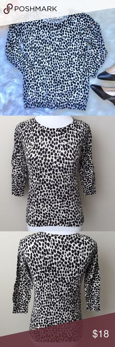 Leopard Print 3/4 Sleeve Old Navy Sweater Cute black & creamy white leopard print 3/4 sleeve sweater from old navy.  Very soft & comfy! Super cute for the office or a night out on the town especially with a bright red lip! Gently used, good condition. Small amount of pilling of material.  No stains or rips.  100% cotton. Old Navy Sweaters Crew & Scoop Necks