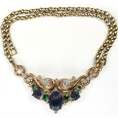 Trifari 'Alfred Philippe' Moghul Jewels Gold Scrolls Melon Cut Sapphires and Emeralds Necklace