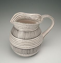 Large Tea Pitcher Black and White Stripes and Dots $53.00