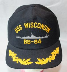 Vintage Snapback Hat, USS Wisconsin, Made in USA by ilovevintagestuff on Etsy