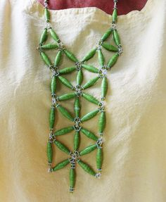 Lime Green Statement Paper Bead Necklace by BeachGirlPaperBeads