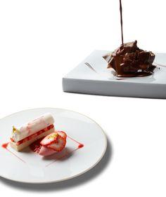 「リベルターブル」の森田一頼シェフが手がけるデザート。上は「伝統菓子オペラのように」(2100円)。