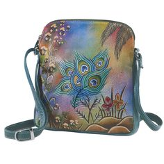 Peacock Painted Leather Bag, $49.95