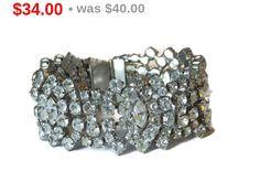 Vintage Rhinestone Bracelet Link Bracelet Wedding by TheFashionDen