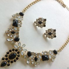 Black Clear White Acrylic Crystal Gem Gold Chain Necklace Earring Jewelry Chic #uniklookjewelry