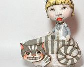 Alice in a Cheshire Cat Cart -- ooak Contemporary Folk Art