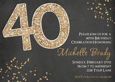 Black & Gold Birthday Invitation Chalkboard Glitter by 3PeasPrints, $18.00