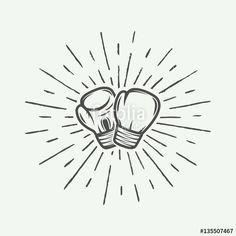 Vetor: Boxing gloves in vintage style. Vector illustration