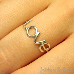 Handmade Jewelry Ring Love Sterling Silver - very simple and pretty