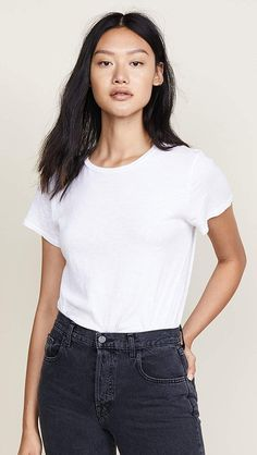 Find 7 For All Mankind Slub Basic Tee online. Shop the latest collection of 7 For All Mankind Slub Basic Tee from the popular stores - all in one Smart Casual Tops, Denim Branding, Shirt Sale, Shirt Blouses, Ideias Fashion, Summer Outfits, T Shirts For Women, Clothes, Tee Online
