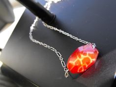 Fire Crab Agate Pendant by patsdesign on Etsy, $23.00