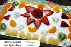 3 milk cake topped with fruit