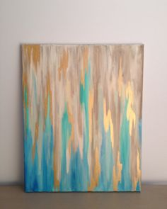 Blue/Gold+Abstract+on+16+x+20+Stretched+Canvas+by+SouthernCanvasCo