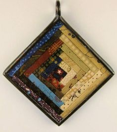 "1 1/4"" Log Cabin Pendant.  Me and My Stitches has such great Pendants; Pins and Key Fobs."